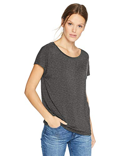 Daily Ritual Women's  Jersey Short-Sleeve Boat Neck Shirt, Charcoal Heather Grey, ()