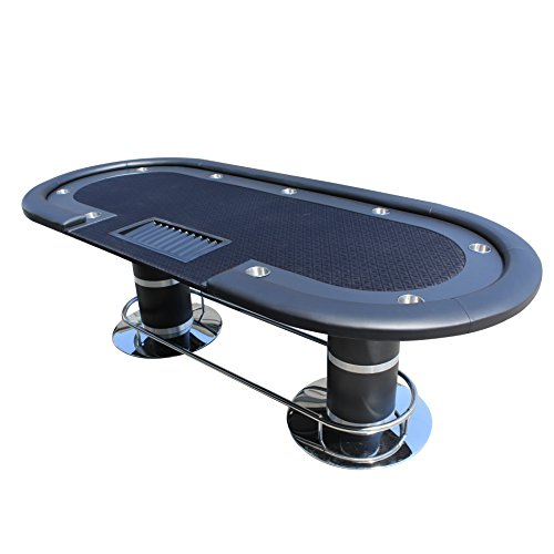 """IDS Professional Texas Hold'em Poker Table 10 Players with Wooden Racetrack Cup Holders Plastic Chip Trays - 96"""" x 43"""" x 30"""" Inch Oval - Black"""