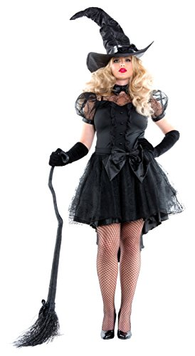 Starline Women's Cobweb Witch Dress Costume with Hat, Black, 1X
