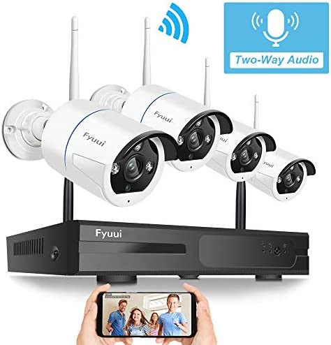 Two-Way Audio Wireless Security Camera System,Fyuui 1080P 8 Channel Wireless Surveillance H.265 NVR 4pcs 2.0 Megapixel 1920 1080P WiFi IP Bullet Camera Outdoor Indoor, Remote View
