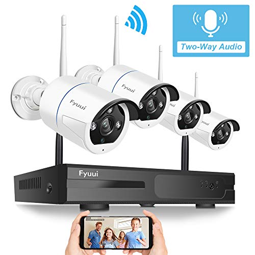 【Two Way Audio】 Wireless Security Camera System,Fyuui 8 Channel 1080P Wireless Surveillance H.265+ NVR 4pcs 2.0…
