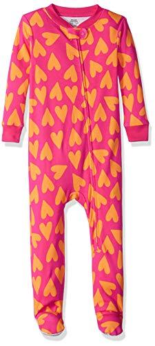 Amazon Essentials Baby Zip-Front Footed Sleeper, Big Hearts Pink, 12-18M
