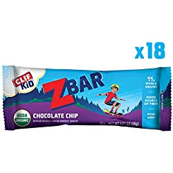Clif Kid ZBAR - Organic Energy Bar - Chocolate Chip - (1.27 Ounce Snack Bar, 18 Count) (Packaging May Vary)