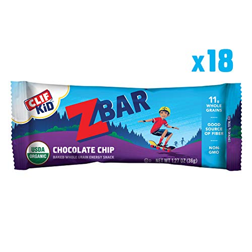 Clif Kid ZBAR - Organic Granola Bars - Chocolate Chip - (1.27 Ounce Energy Bars, Kids Snacks, 18 Count) -