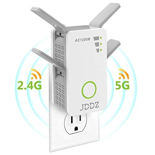 WiFi Range Extender, Internet Signal Booster Wireless Repeater 2.4GHz 5GHz Dual Band Up to 1200 Mbps Work for House Basement 360 Degree Full Coverage