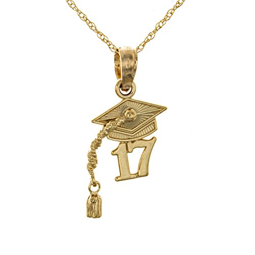 14k Yellow Gold Small Graduation Necklace Charm with Chain, 2017 Cap with Dangling Tassel by Million Charms
