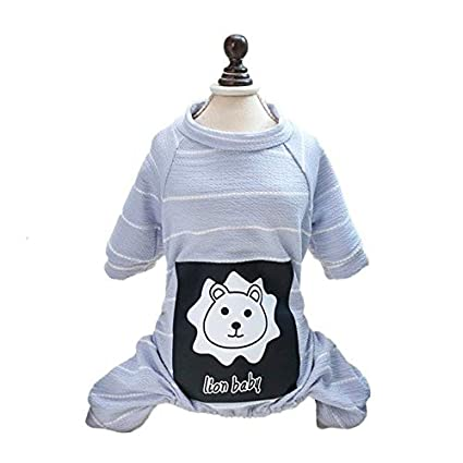Buy Veena Simple Style Dog Animal Printed Striped Cotton Coat Puppy
