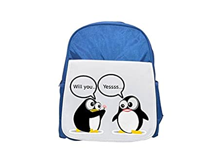 e8cca569028a Tux Linux icon printed kid s blue backpack