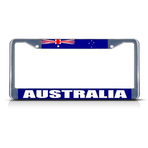 (Fastasticdeals Australia Flag Chrome Heavy Duty Metal License Plate Frame Tag Border)