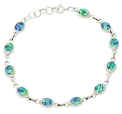 8dededb8b Abalone Paua Shell & 925 Sterling Silver Oval Bracelet: Amazon.co.uk:  Jewellery