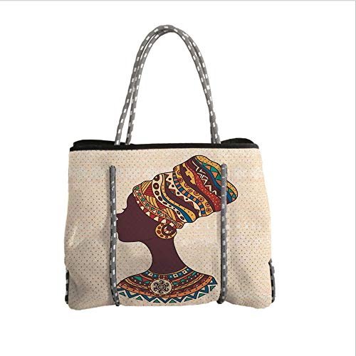 iPrint Neoprene Multipurpose Beach Bag Tote Bags,Tribal Decor,African Woman in Traditional Ethnic Fashion Dress Portrait Glamour Graphic,Cream Brown,Women Casual Handbag Tote Bags