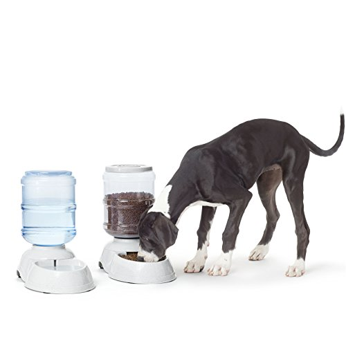 (AmazonBasics Large Gravity Pet Food Feeder and Water Dispenser Bundle)