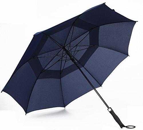Automatic Open Large Windproof 60-Inch Double Canopy Golf Umbrella (navy blue)
