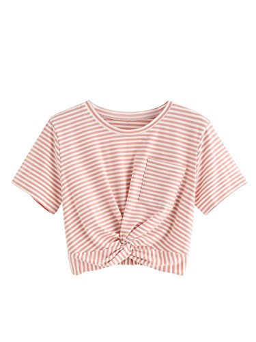 - MakeMeChic Women's Short Sleeve Cute Print Crop Top Summer Tee Shirt Pink-Stripe L