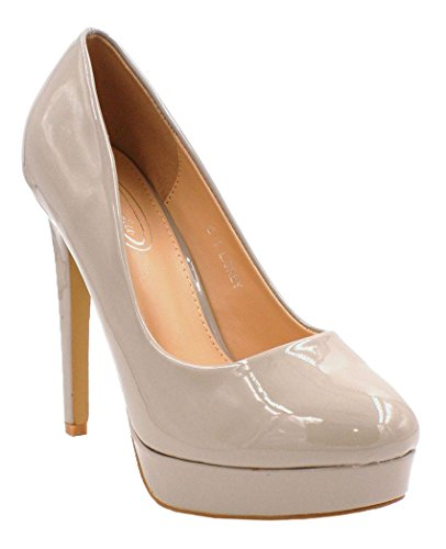 SHU CRAZY Womens Ladies Faux Patent Leather High Heel Platform Party Evening Slip On Dressy Pumps Court Shoes - D40 Grey 122PJ74