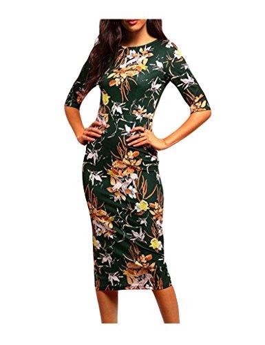 Bestgift Damen Elegant Blumen-Weinlese-Druck Bleistiftkleid Midi Kleider Abendkleid Casualkleider
