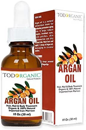 Aceite Marroquí de Argán 100% Puro y Orgánico del USDA Para El Pelo, La Piel, La Cara y Las Uñas, 1 onza de Aceite de Argán, Es Todo 100% Natural, Prensado en Frío del Arbol Originario de Argan al sur-oeste de Marruecos. No hay productos químicos añadidos y seguro para todo tipo de cabello, la piel y el cuerpo. Es un fuerte contraste con las fórmulas cosméticas por TODORGANIC