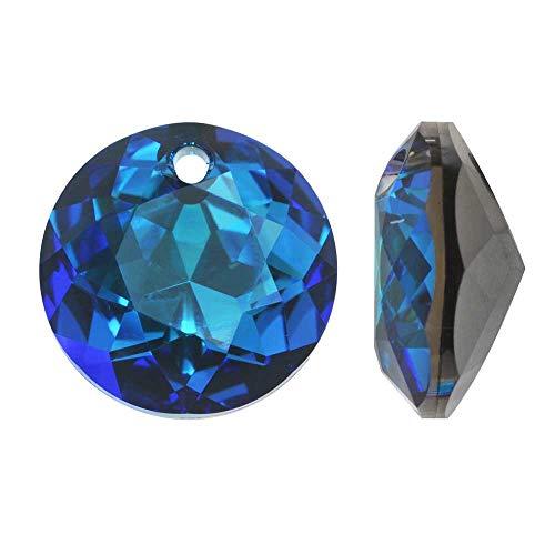 Swarovski Crystal, 6430 Round Classic Cut Pendants 14mm, 2 Pieces, Crystal Bermuda Blue - Crystal 14 Mm Bermuda