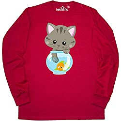 inktastic - Kitty and The Fish Bowl, Cute Long Sleeve T-Shirt X-Large Red 35a84