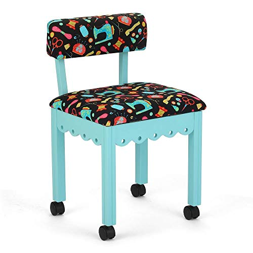 Arrow Sewing Cabinet Black Sewing Notions Chair with Gingerbread Scallops - Blue Finish ()