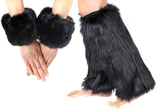 Women Girl Faux Fur Boots Shoes Cuffs Leg