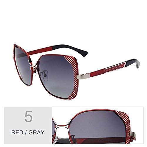 Gafas Red Enormes Unas Sol De Mujer Uv400 TIANLIANG04 Mujer Gafas Metal Bastidor Sol Polarizadas Gris Azul Rojo Mujer De Gray De Butterfly De Gafas BwqE5ZE