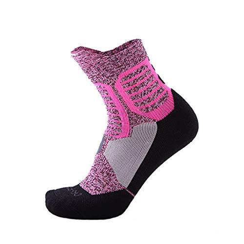 削るたるみ家具肥厚 - タオルボトム - 通気性 - 汗吸収性スポーツソックス (色 : Pink)