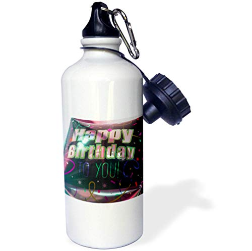 3dRose Jos Fauxtographee- Birthday - A Big Square Balloon That says Happy Birthday to You in Black - 21 oz Sports Water Bottle (wb_320075_1) (Images Of Balloons That Say Happy Birthday)