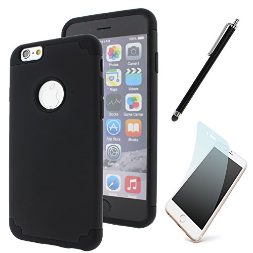 New iPhone 6 Case, Dual Layer Hard Back Soft Impact Resistant Rubber Protective Defender Case Cover For iPhone 6s (New Hard Rubber)