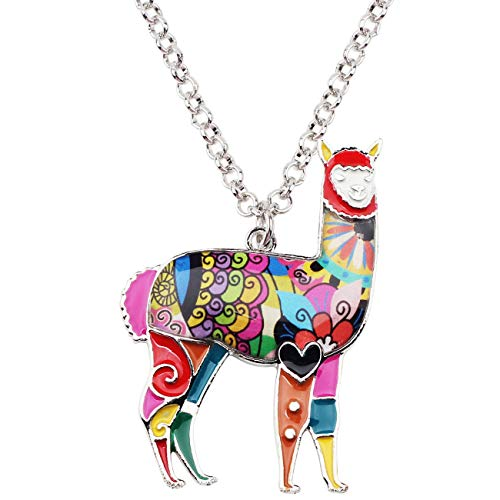 Bonsny Zinc Enamel Alloy South America Floral Alpaca Necklace Chain Pendant Jewelry for Women Girls Charms Gift (Multicolor)