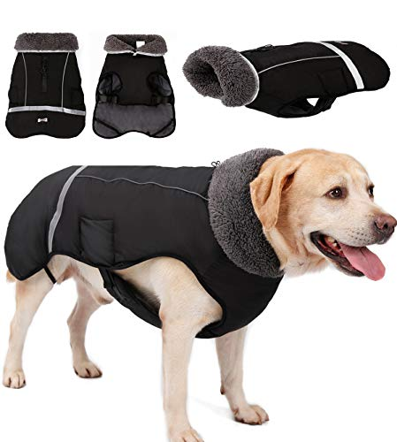 Dog Coat Dog Thicken Lining Winter Clothes Waterproof Reflective Cold Weather Jacket Large Dogs Small Medium Large Dog…