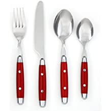 Cambridge Silversmiths 16-Piece Flatware Set, Jubilee Red, Service for 4