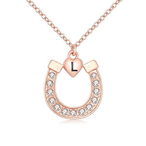 Lucky Rose Necklace (MANZHEN Rose Gold Crystal Lucky Horseshoe with Initial Letter Love Heart Pendant Necklace (L))