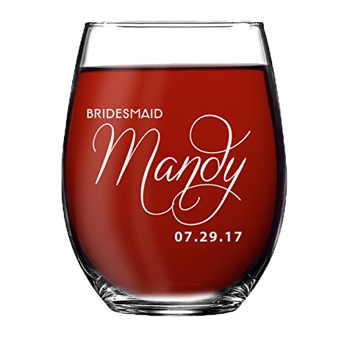 Personalized Bridesmaid Stemless Wine Glasses Gift - Custom Engraved and Etched for Free