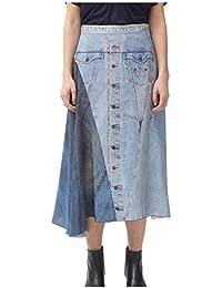 Asymmetrical Silk Denim Print Skirt