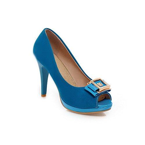 AgooLar Mujeres Peep Tacón de aguja con Metal Sólido Sin cordones Sandalia Azul