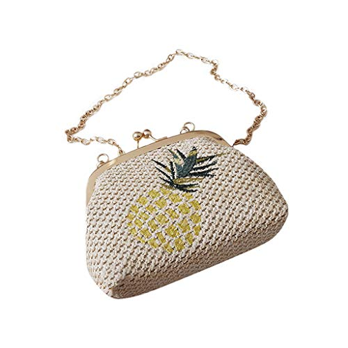 2DXuixsh Women's Straw Crossbody Handbags Chain Strap Shoulder Bags for Summer Beach Sea Messenger Popular Weaving Bag