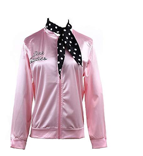 Namektch Womens Clothing, 1950s Pink Ladies Satin Jacket with Neck Scarf T Bird Women Girls Halloween Costume Fancy Dress
