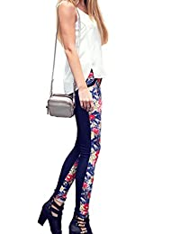 Two Tone Slim Fit Stretchy Floral Jean Jeggings