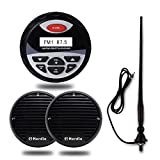 Herdio Watertight Marine Stereo Radio Digital Media Receiver Mp3/AUX/RCA Bundle Combo with 3'' Boat Motorcycle Speakers+FM AM Aerial