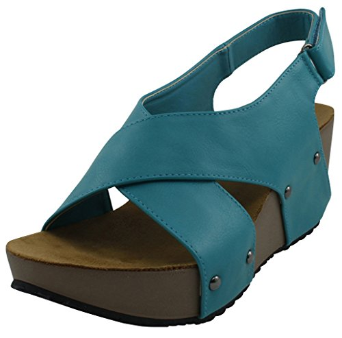 Cambridge Select Women Open Teen Studs Crisscross Strappy Slingback Platform Wedge Sandaal Turquoise