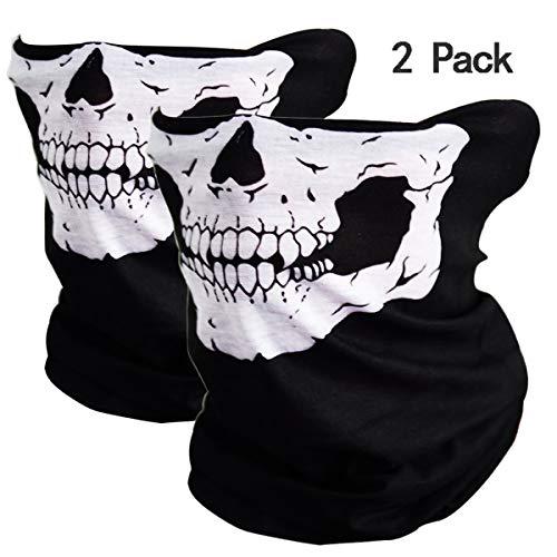 GUDEER 2 Pack Seamless Skull Mask Motorcycle Bicycle Half Face Tube Skeleton Mask for Halloween - Black&Black