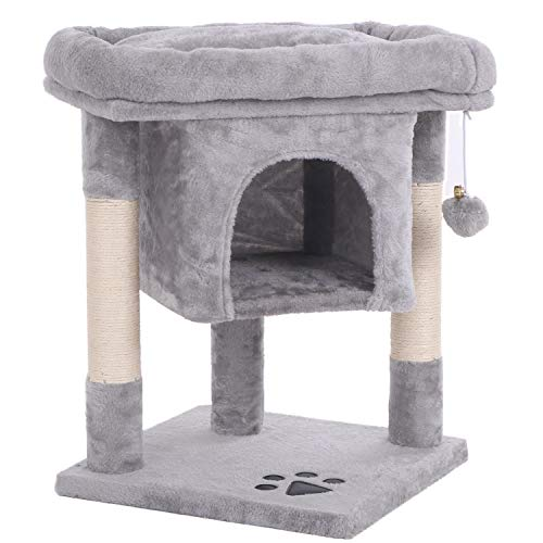 BEWISHOME Cat Tree Cat House Cat Condo with Sisal Scratching Posts, Plush Perch, Cat Tower Furniture Cat Bed Kitty Activity Center Kitten Play House, Light Grey MMJ08G