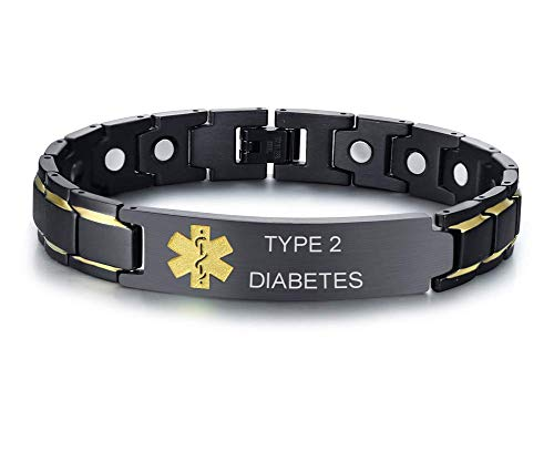 XUANPAI Type 2 Diabetes Brushed Name Plate ID Identity Magnet Therapy Medical Alert ID Bracelet(Black+Yellow) ()