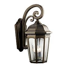 Kichler 9034RZ Courtyard Outdoor Wall 3-Light, Rubbed Bronze
