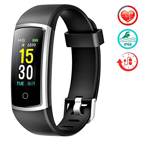 FITFORT Fitness Tracker with Blood Pressure HR Monitor - 2019 Upgraded Activity Tracker Watch with Heart Rate Color Monitor IP68 Pedometer Calorie Counter for Women Kids Men (Best Rated Fitness Tracker)