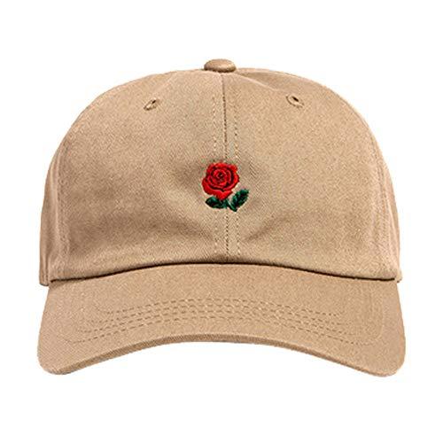 Yaseking Solid Color Baseball Cap, Men Women Embroidery Cotton Baseball Cap Adjustable Snapback Hip Hop Flat Hat (Khaki)