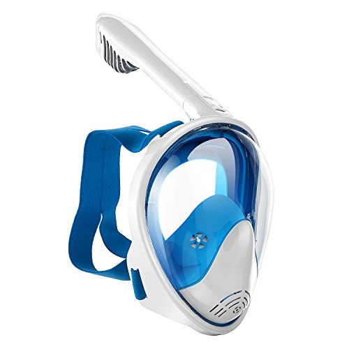 Luke Full Face Snorkel Mask Foldable 180° Panoramic View Diving Scuba Mask Easy Breath with Anti-Fog and Anti-Leak with Adjustable Head Straps Design for Adults,Youth,Kids (Blue, Small/Medium)