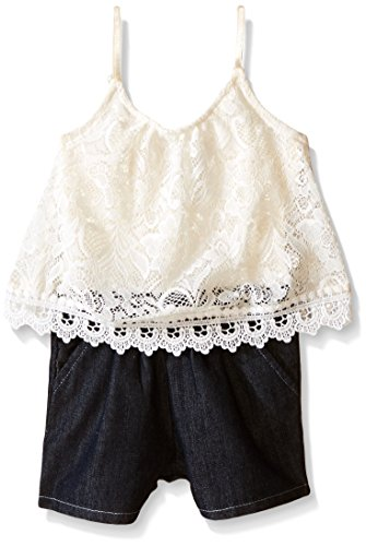 Limited Too Baby Girls' Lace Cami Top and Denim Short Romper, Vanilla, 12 (Baby Lace Cami)