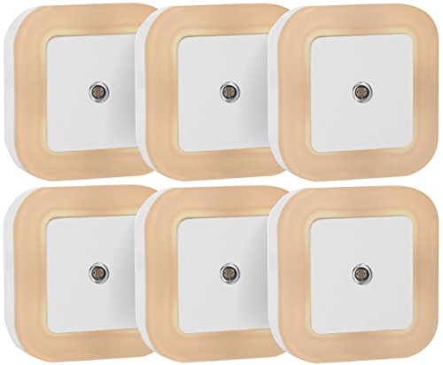 Sycees Plug in LED Night Light Lamp with Dusk to Dawn Sensor for Bedroom, Bathroom, Kitchen, Hallway, Stairs, Warm White, 6-Pack